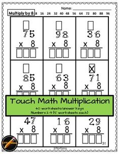 Touch Math Multiplication with regrouping: 2 digit x 1 digit- SET 2 Multiplication Sheets, Free Multiplication Worksheets, Touch Math, Adding And Subtracting, Teacher Newsletter, Bb, Products, Leaves, Gadget