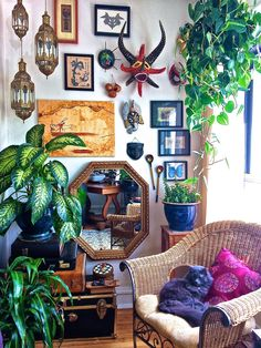 A walk of amazing bring me backs from holidays and experiences. Cute cosy corner.