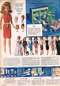 Tressy, 1964 Sears Christmas Catalog Vintage Barbie, Vintage Dolls, Vintage Ads, Toy Catalogs, 1960s Toys, Popular Toys, Christmas Catalogs, Barbie Collector, Doll Maker