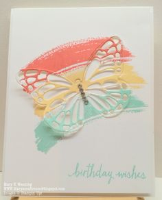 Mary's Craft Room: Bold Butterfly Birthday - Such a creative design! Stampin Up Karten, Stampin Up Cards, Handmade Birthday Cards, Greeting Cards Handmade, Butterfly Cards Handmade, Butterfly Birthday Cards, Cool Cards, Diy Cards, Card Making Inspiration