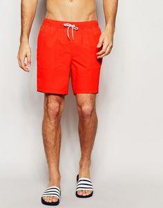 ASOS+Mid+Length+Swim+Shorts+In+Tomato+Red