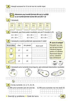 Clasa I : Matematică şi explorarea mediului. Clasa I. Partea I - (E1) Visual Perceptual Activities, 1st Grade Math Worksheets, Preschool Math, Math For Kids, School Lessons, Curriculum, Classroom, Student, Homeschooling