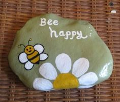 Details about hand painted river rocks> inspirational, bee happy Pebble Painting, Pebble Art, Stone Painting, Painting Flowers, Painting Art, Painted River Rocks, Hand Painted Rocks, Painted Stones, Painted Pebbles