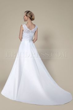 New Arrival Fashion Concise Lace Sleeveless Chapel Train Wedding dress 4