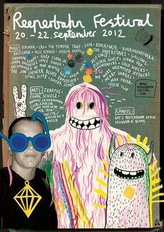 reeperbahn festival art poster. reeperbahn festival, 2012, rocket + wink, art, monster, music, poster, typo, art, handmade