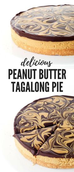 Chocolate Peanut Butter Tagalong Pie is part of Chocolate peanut butter pie - Chocolate Peanut Butter Tagalong Pie featuring a buttery shortbread crust topped with creamy peanut butter and dark chocolate ganache Peanut Butter Filling, Peanut Butter Desserts, Creamy Peanut Butter, Chocolate Desserts, Chocolate Peanutbutter Pie, Peanut Butter Chocolate Pie, Chocolate Ganache, Chocolate Lasagna, Chocolate Drizzle