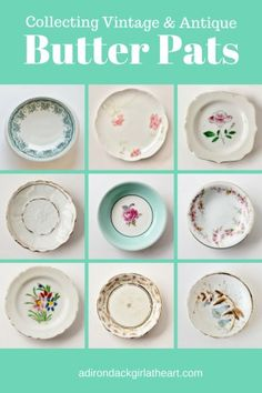 Learn about collecting vintage & antique butter pats--darling little works of art that were extremely popular during the Victorian era. Antique Dishes, Antique Glassware, Vintage Dishes, Antique Items, Vintage Items, Vintage Kitchenware, Upcycled Vintage, Vintage Pottery, Vintage Antiques
