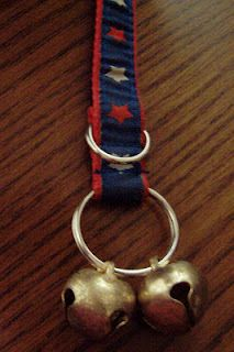 Dog Door Bells - Up-cycled project using an old dog collar (or leash if desired).  Great for teaching your dog to let you know when to let them out.  Instructions on my blog.