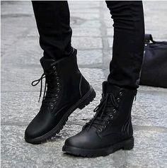New Retro Combat Boots men Autumn Winter Leather Boots Fashionable Short Black Brown Ankle boots for men size 38-44 LS141