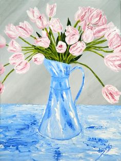 """""""Pink Tulips in a Blue Pitcher"""" Acrylic. Original: Private Collection. Available as Prints, Note Cards and Magnets."""
