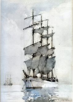 Four Masted Barque, 1914. Watercolour. Henry Scott Tuke