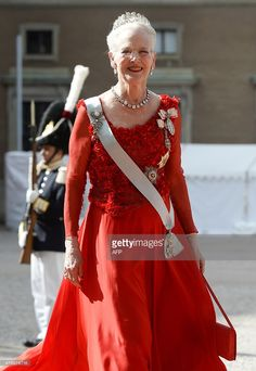 Queen Margrethe II of Denmark arrives for the wedding of Sweden's Crown Prince Carl Philip and Sofia Hellqvist at Stockholm Palace on June 13, 2015. AFP PHOTO / JONATHAN NACKSTRAND