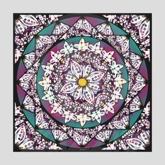 Meditation ~ Stunning canvas print of a nature themed mandala in purple, teal, yellow and black. Leaves, seed pods twist and turn and take you to a peaceful place.