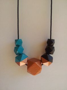 Wooden Bead Necklace Hand Painted Geometric by EmbellishHandmade