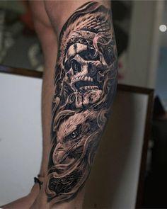 Indian Skull Tattoos, Skull Sleeve Tattoos, Skull Rose Tattoos, Forearm Sleeve Tattoos, Best Sleeve Tattoos, Tattoo Sleeve Designs, Tattoo Ink, Biker Tattoos, Warrior Tattoos