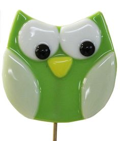 Green Fused Owl Plant Stake by DaughtersDearest on Etsy, $9.00