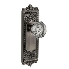 Grandeur Windsor Antique Pewter Plate with Passage Chambord Crystal Knob-WINCHM-10-AP - The Home Depot