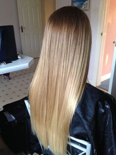 Straightened Ombre hair.