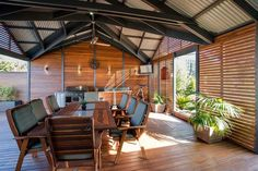 Pergola with Colorbond Roofing, Timber Screens and Merbau decking