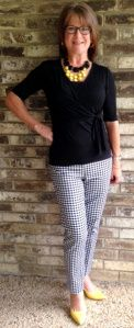 "really like the checked pants - but not with yellow  From ""stylesavvydfw.com"" 9.29.13  Today's outfit: Black and white checked pants: White House Black Market Black wrap knit top: Ann Taylor (old) Statement necklaces: Sample Sale Comfort Plus yellow pumps: Payless"