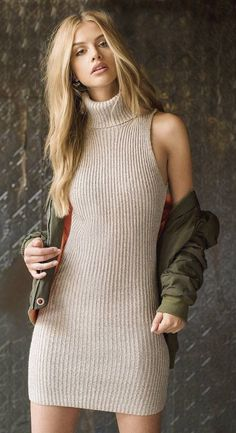 #cute #outfits 'Up In The Skies Bomber Jacket' // 'Kerri Turtle Neck Sweater Dress
