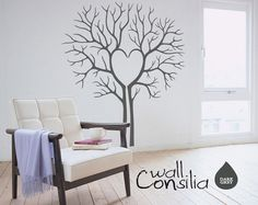 "Heart Twin Tree Wall Decal - Tree Wall Sticker - Tree Decal - Large: approx 69"" x 60"""