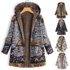 YUELANDE Men Outwear Zipper Hooded Camo Fleece Print Parka Coat