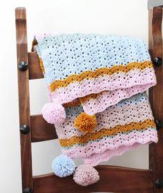 Potter & Bloom: Isla Lacy Ripple Blanket - free crochet pattern.