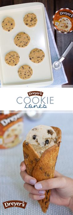 Dreyer's Cookie Cones: What's better than ice cream in a cone? Ice cream in a cookie cone! Start by baking an oversized cookie and wrap it around a cone to set. Then, fill with Dreyer's Cookie Dough ice cream for a cookie overload in the coolest cone around!