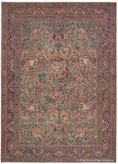 Laver Kirman Oriental rug in rare green tones