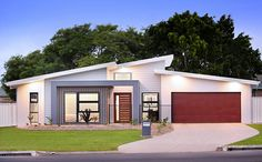 Flat Roof House, Facade House, Contemporary House Plans, Modern House Plans, Exterior House Colors, Exterior Design, Modern Villa Design, Roof Design, Home Fashion