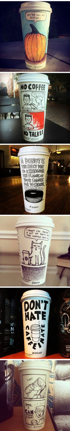 A cartoonist draws on his coffee cup every morning. - Part 2