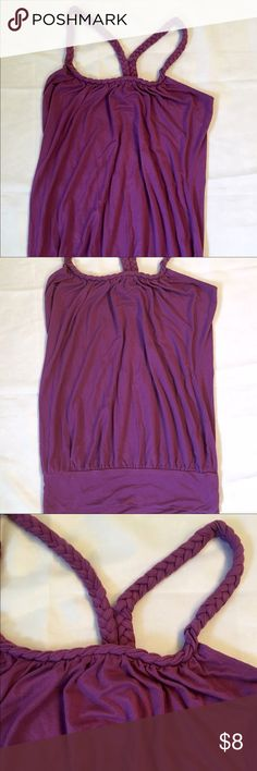 Charlotte Russe Banded Waist Tank - Sz S Charlotte Russe tank top with banded waist.  Braided straps and around the neckline.  95% rayon and 5% spandex.  Purple color.  Size small. Charlotte Russe Tops Tank Tops
