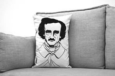 Amanda Treder: Edgar Allan Poe Portrait Pillow Cover