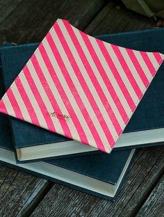 Leather iPad Sleeve Neon Pink Stripes by almanacindustries