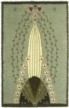 Ruusu (Rose) rya/cloth rug designed by Eliel Saarinen from the times when a designer handled the whole scene from arts & crafts to architecture. Rya Rug, Art Nouveau, Art Deco, Arts And Crafts Movement, Rug Hooking, Woven Rug, Floor Rugs, Textile Art, Rugs On Carpet