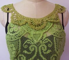 Hand Dyed Vintage Overlace Green Doily Lace Shabby by RevampReuse, $139.00