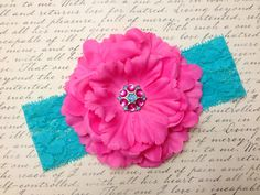 Spring Collection Bright Pink Flower on Aqua by ThePetitBowtique, $11.00
