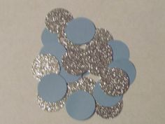 Listing is for 100 pc. of Light Blue and Silver in Glitter Confetti  You will receive 50 of each These are perfect for Bridal Showers, Baby