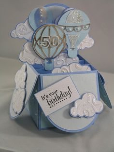 To BUY svgcuts box cards kit hot air balloon box card this example set up as a 50th birthday card but the sentiment is up to you! --Bon voyage, Birthday, Best Wishes, Anniversary etc