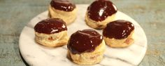"""Donut Puffs with Coffee Mousse (Make Ahead Easter) - Mario Batali, Carla Hall, Michael Symon and Clinton Kelly, """"The Chew"""" on ABC. The Chew Recipes, Donut Recipes, Cookie Recipes, Dessert Recipes, Mini Desserts, Easy Desserts, Delicious Desserts, Mini Cherry Pies, Coffee Mousse"""