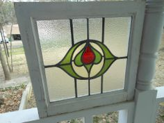 J75 Pretty & Older Multi-Color English Leaded Stained Glass Window