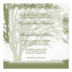 Olive Green Oak Tree Fall Wedding Invitations