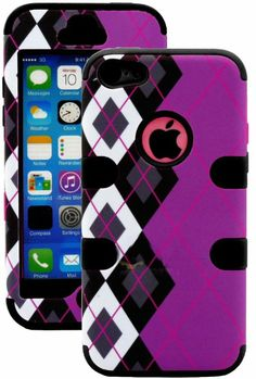 Amazon.com: myLife (TM) Black + Black Argyle Plaid 3 Layer (Hybrid Flex Gel) Grip Case for New Apple iPhone 5C Touch Phone (External 2 Piece...