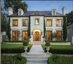 French Limestone Home With A Slate Roof Great Eyebrow Detail Over First Floor Windows Beautiful House And Landscaping