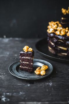 double chocolate peanut butter layer cake with caramel popcorn
