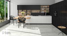 Biało-czarny aneks kuchenny z drewnem aranżacja kuchni Projekt Table, Furniture, Home Decor, Decoration Home, Room Decor, Tables, Home Furnishings, Desks, Arredamento