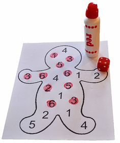 Children's Learning Activities: Gingerbread Number Identification goes with smart board dice. Roll the dice and find the number.