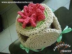 Reciclagem CD Crochê - Porta Papel Higiênico Fiore - Decorações em Crochê - Aprendendo Croche