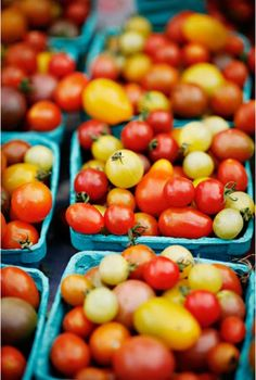 I miss buying colourful little tomatoes like these at the farmer's market!